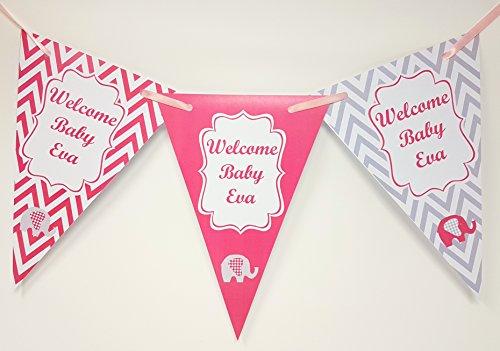 personalisierbar Welcome Home Baby Wimpelkette Banner–Verschiedene Farben–Text kann individuell–Chevron Baby-chevron Band