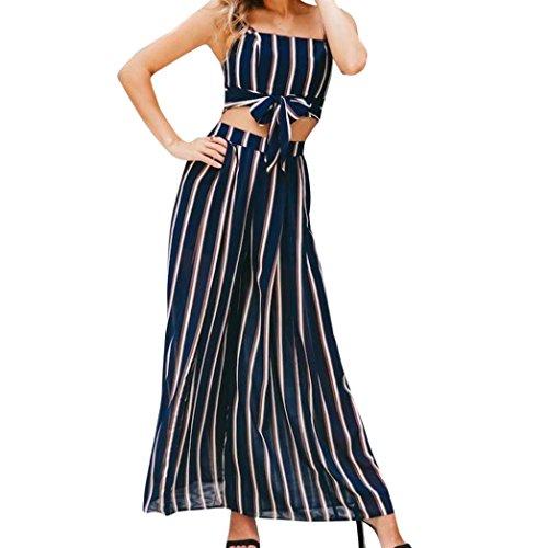 OSYARD Damen Sommer Streifen Sleeveless Weste Shirt Tops Bluse Shorts Hosen 2 Stücke Set(EU 38/M, Marine)