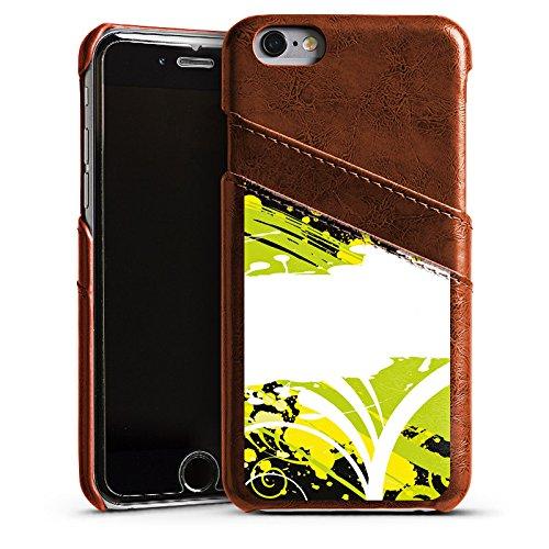 Apple iPhone 4 Housse Étui Silicone Coque Protection Fleurs Fleurs Motif Étui en cuir marron