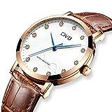 CIVO Reloj de Cuero para Hombres Impermeable Reloj Clásico Moda Diseñador Retro Relojes de Pulsera Caballeros Deportivo Adolescente Chicos Vestido Viaje Reloj Simple para Hombre Marrón