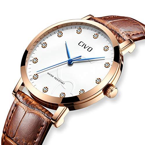 CIVO Reloj de Cuero para Hombres Impermeable Reloj Clásico Moda Diseñador Retro Relojes de Pulsera...