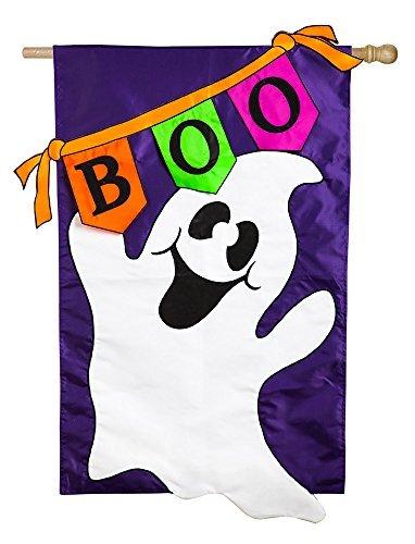 Evergreen Applique Boo pjpg House Bandiera, 28 x 111,76 cm - Ghost House Flag