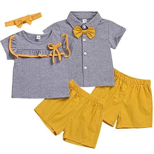 leidung Set, passende Jungen und Mädchen Kurzarm T-Shirt Tops + Shorts Kleidung Set ()