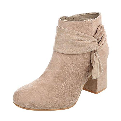 Ital-Design Klassische Stiefeletten Damen-Schuhe Klassische Stiefeletten Pump Moderne Reißverschluss Stiefeletten Beige, Gr 37, Ll209-