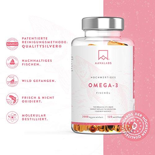 Omega 3 Fischöl [ 2000mg ] von Aava Labs – 120 Softgel Kapseln - 3