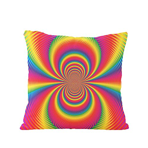 Yunhigh quadratischen Sofa Kissen deckt Wohnzimmer Stuhl Kissen deckt bunte abstrakte Regenbogen Baumwolle werfen Kissen Fall für Sofa Couch Lounge Büro Sitz Wohnkultur (Kreuzstich-leinen-stoff)