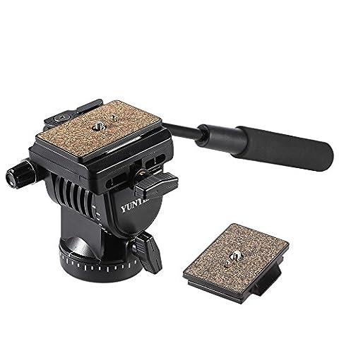 Andoer YT-950Pro DSLR cam fluide résistance Tilt Pan damping tête boule avec manche deux plaques (Due Fori Piastra)
