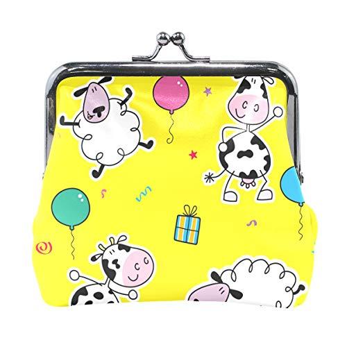 BONIPE Cute Cartoon Cow Coin Purse Leather Mini Clutch Pouch Wallet for Women Girls