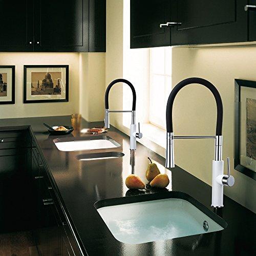 Homelody – Küchenarmatur mit hohem Auslauf, 360° drehbar, herausziehbar, Weiß-Chrom - 8