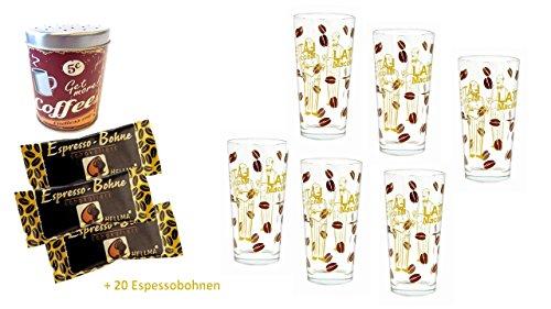 Hellma schokolierte Espressobohnen 20 x 1,1g Zartbitter + 6 Latte Gläser + Metallschokostreuer Motiv 5 cent T-disc Carousel
