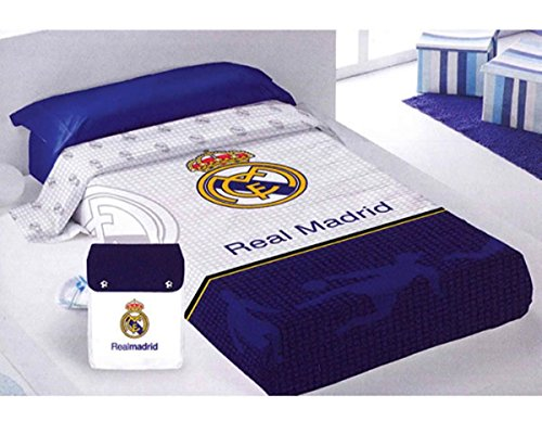 SUMMER QUILT – Colcha Coprilleto Licencia REAL MADRID cama 90 ( 182×260 cms )+ Mochila de tela de regalo