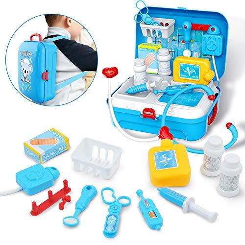 GizmoVine Arztkoffer Kinder Rollenspiel Spielzeug mit Rucksackbeutel 17tlg. Spielset Spielzeug für 2 jährige Jungen Mädchen Kinder Kleinkinder