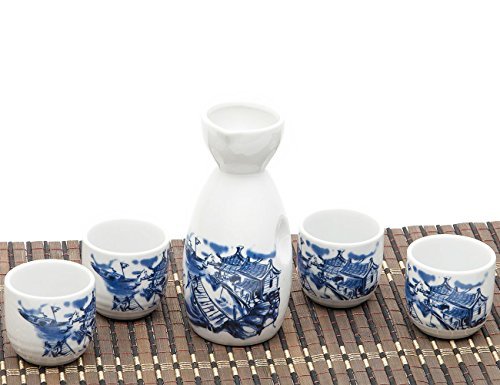 ankoow giapponese Sake Set con 4 tazze dipinte a mano blu