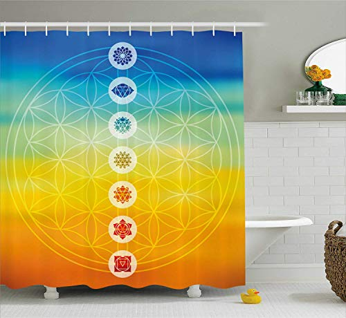 MLNHY Abstract Shower Curtain, Gradient Toned Chakra Centers Power of The Universe Harmony Ancient Design, Cloth Fabric Bathroom Decor Set with Hooks, Orange Blue,Size:60W X 72L Inche