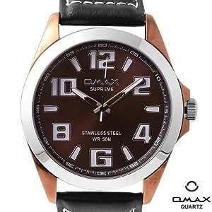 Omax - JS542-black - Analogique - Homme Montre - Bracelet en cuir noir