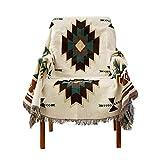 Retro Sofabezug, Amerikanische geometrische Stricken Sofa-Überwürfe Vollständige Anti-rutsch Decke Floralen Jacquard Couchbezug Wildleder -H 160x260cm(63x102inch)