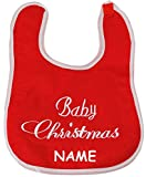 Unbekannt Babylätzchen / Spucktuch -  Baby Christmas - Weihnachten  - incl. Name - aus weichem Filz Stoff - mit Klettverschluß - Weihnachts-Lätzchen - erstes Baby´s J..