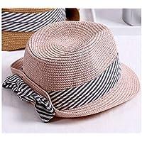 Young shinee Cappello per Bambini Bambini Bowknot Cappello di Paglia Bambini  Cappello a Bombetta Protezione Solare 1f36a503ec89