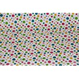 Homescapes Tela de 100% Algodón con Estampado de Puntos Multi Color