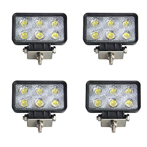 BRIGHTUM 4 X 18W 4560LM phare de travail LED lampe voiture SUV ATV tracteur pelleteuse camion grue 4x4 Work light Phare LED Lampe à LED pour véhicule tout-terrain 12V 24V Lumière(4 pièce)