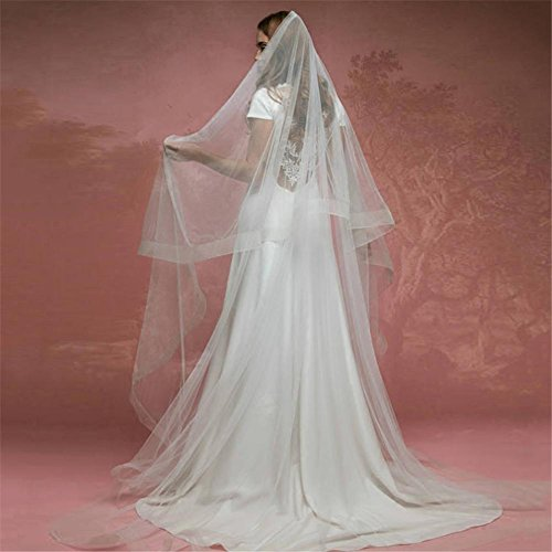 Gwq matrimonio velo cattedrale sposa doppio trailing filato netto tridimensionale hemming con metallo pettine avorio bianco