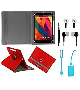 Gadget Decor (TM) PU Leather Rotating 360° Flip Case Cover With Stand For huawei mediapad T1 7.0 + Free USB Led Light + Free Handsfree( Without Mic) - Red