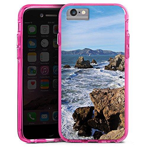 Apple iPhone 7 Bumper Hülle Bumper Case Glitzer Hülle Kueste Ocean Mer Bumper Case transparent pink