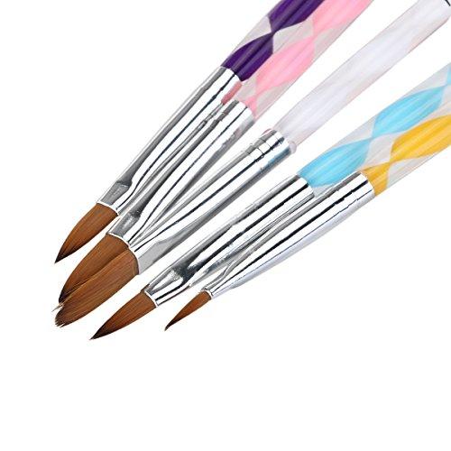 NUOLUX, Pennello acrilico acrilico Gel unghie Set di pennelli Set Nail Art nuovo penna unghie–5ST