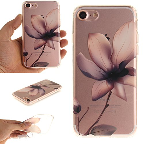 Per iPhone 7,Sunrive® Custodia Cover Case in molle Trasparente Ultra Sottile TPU silicone Morbida Flessibile Pelle Antigraffio protettiva(magnolia) magnolia