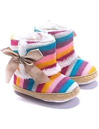R & V zapatos de niña bebé algodón Rainbow Stripe Knit suave suela invierno lazo botas de nieve infantil Prewalker 0–18M