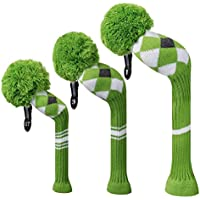 Green Grey White Argyle Style Knit Golf Headcover, Set of 3 for Driver Wood(460cc) Fairway Wood and Hybrid/UT