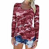 feiXIANG Mode Frauen Damen Kurze ärmel t - Shirt mit Tasche Bluse Tarn Hemd (XL, Rot)