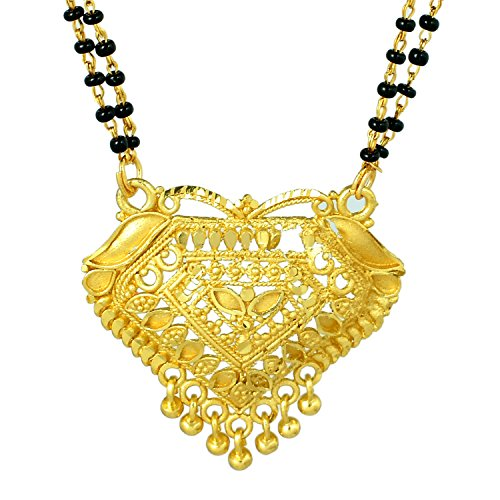 Memoir Gold plated Diamond shape plain pure Gold look exquisite handcrafted rasrawa work Mangalsutra Tanmaniya Thali jewellery necklace for Women