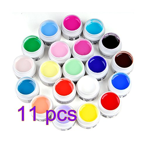 Arpoador 11 pcs pur Mix Couleur UV Builder Gel Colle Acrylique Set pour nail art
