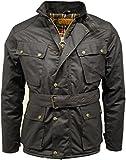 Herren Motorradjacke, 100% gewachste Baumwolle, Biker-Jacke, gesteppt Gr. XXL, schwarz