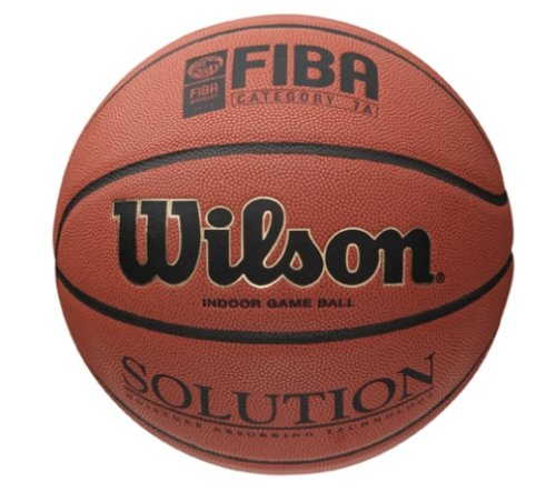 Wilson Indoor-Basketball, Wettkampf, FIBA zugelassen, Sportparkett, Granulat, Linolium- oder PVC-Boden, Größe 7, ab 12 Jahre, Solution Game Ball, Orange (Fiba Leder Basketball)