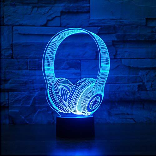 Zfkdsd 3D Dj Kopfhörer NachtlichtMusik Monitor Headset Coloful Kopfhörer Led Tischlampe Schlafzimmer Dekor Schlaf Beleuchtung Beste Geschenke