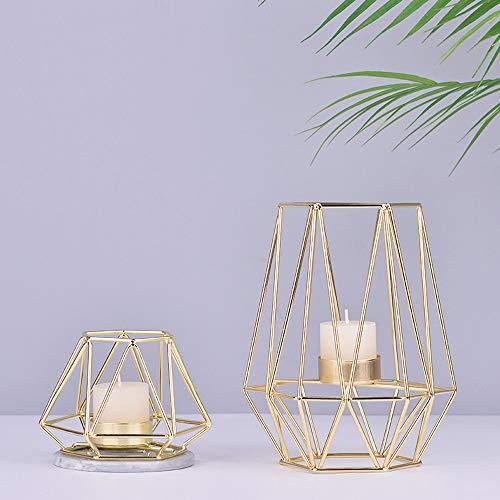 KOBWA Metall Teelicht Kerzenhalter Geometrische Metalldraht Eisen Teelicht Kerzenhalter Laterne Hochzeit Urlaub Veranstaltungen Party Dekorationen(Gold)