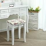 Songmics® Rose Hocker mit 2 Hockertafeln und 2 Methoden der Sitz für Schminktisch Echtholz Polster Sitzbank RDS50H - 2