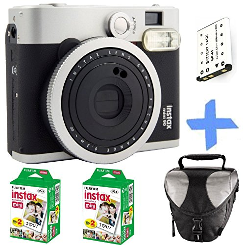 Set Polaroid-kamera-bundle (Fuji Instax Mini 90 Instant Film Kamera + 40 Prints + Ersatzakku + Case Bundle. 2.1