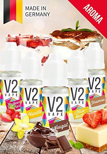 V2 Vape Set Sweet-Kiss AROMA/KONZENTRAT hochdosiertes Premium Lebensmittel-Aroma zum selber mischen von E-Liquid/Liquid-Base für E-Zigarette und E-Shisha 5x10ml 0mg nikotinfrei