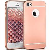 moex Apple iPhone 5S | Hülle Silikon Rose-Gold Smooth Back-Cover Chrom Matt Silikonhülle Ultra-Slim Schutzhülle Metallic Handy-Hülle für iPhone 5/5S/SE Case Dünn