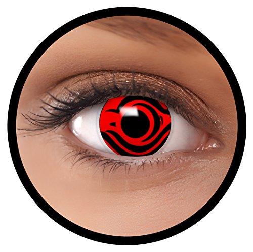 FXEYEZ® Farbige Kontaktlinsen rot Death + Linsenbehälter, weich, ohne Stärke als 2er Pack - angenehm zu tragen und perfekt zu Halloween, Karneval, Fasching oder Fasnacht