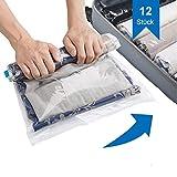 SilverRack 12x Vakuumbeutel für Kleidung I Vakuumier Beutel Kleidung zum Rollen I Vacuum Storage Bags I Kompressionsbeutel Backpacker für Kleidersack Vakuum in 3 Space Größen I ohne Staubsauger