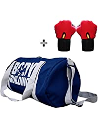 5 O' CLOCK SPORTS Gym Bag Combo Set Enclosed With Body Building Polyster Duffle Gym Bag For Men and Women For Fitness - Bag Size 49cm x 24cm x 24cm - Blue Color- Leather Gym Gloves With Wrist Support- Red Color ®