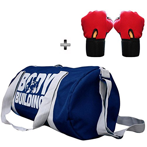 5 O' CLOCK SPORTS Gym Bag Combo Set Enclosed With Body Building Polyster Duffle Gym Bag For Men and Women For Fitness – Bag Size 49cm x 24cm x 24cm – Blue Color- Leather Gym Gloves With Wrist Support- Red Color Â