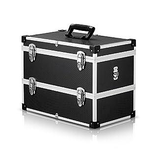 IKAYAA Electricians Aluminium Case Tool Box Organiser Carrying Storage Flight Case Large Storage Fishing Tackle 2 Layer
