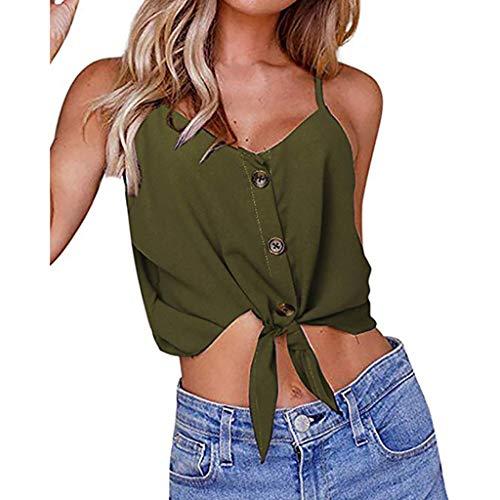 nfarbig Off Schulter Button Down V-Ausschnitt TräGerhemden Lose äRmellose Hemden Blusen Einfach Und Sexy Mode LäSsig Tunika ()