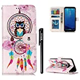 BtDuck Leather Case for Samsung Galaxy S8 Plus / Embossed Dreamcatcher Feather Wind chimes Chinese Style ( Owl Grandfather ) Stand Painted pattern Phone Protector PU Leather Flip Folio Cover Anti-slip Skin Outdoor Protection Simple Strict Shockproof Heavy Duty Robust Bumper Case Shell with Stander Oyster Card ( Travel Card Bus Pass)Holder Slots Pocket Kickstand Function Magnetic Closure + 1 * Black Stylus Pen Black Look Up Put down the phone