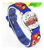 Pure Time Orologio per bambini, per ragazzi e ragazze, cinturino in silicone, colore blu e rosso, motivo 3D: Cars